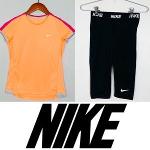 Nike Girls Lot Of Two Athletic Set Tee / Leggings